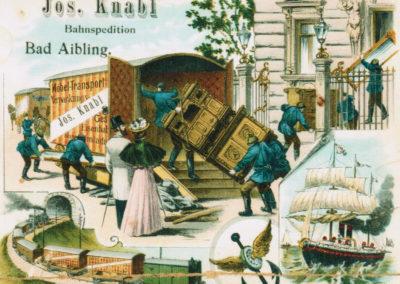 Werbekarte für den Umzug um 1900